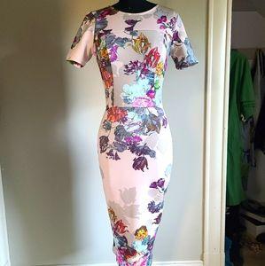 ASOS Form Fitting Floral Pencil Dress, sz 4